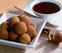 Fried cheese balls with pepper jelly