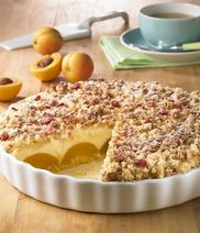 Peach quark-cream-pie with cereal-crumbles
