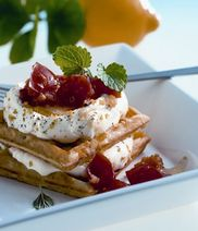 Cream Cheese-waffles with tomato concassée