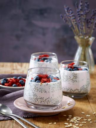 Overnight Oats with chia seeds and blueberries